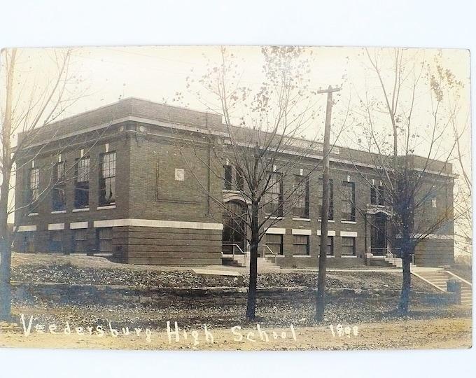 1908 Veedersburg High School Indiana Vintage Postcard