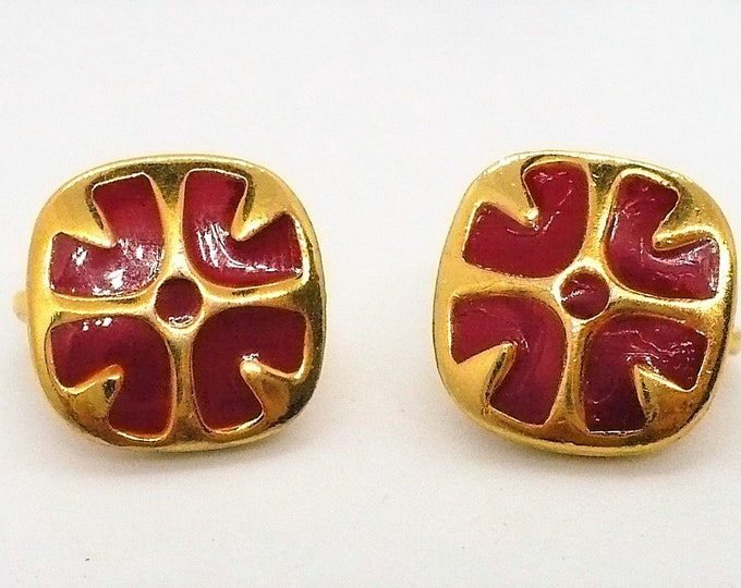 Red Givenchy Paris New York Champleve Enamel Vintage Gold Tone Clip On Earrings