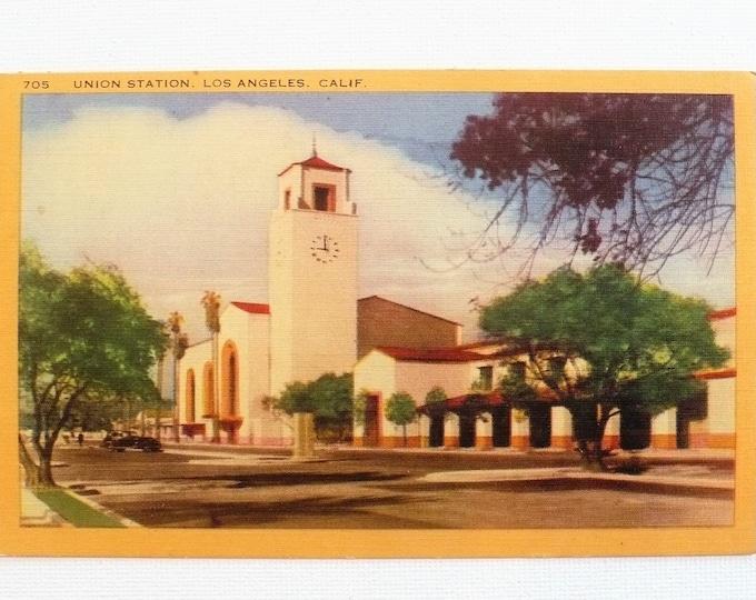 1949 Union Station Los Angeles California Vintage Postcard Posted