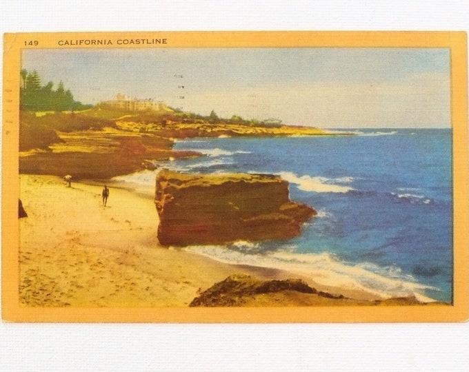 1953 California Coastline Vintage Postcard Posted