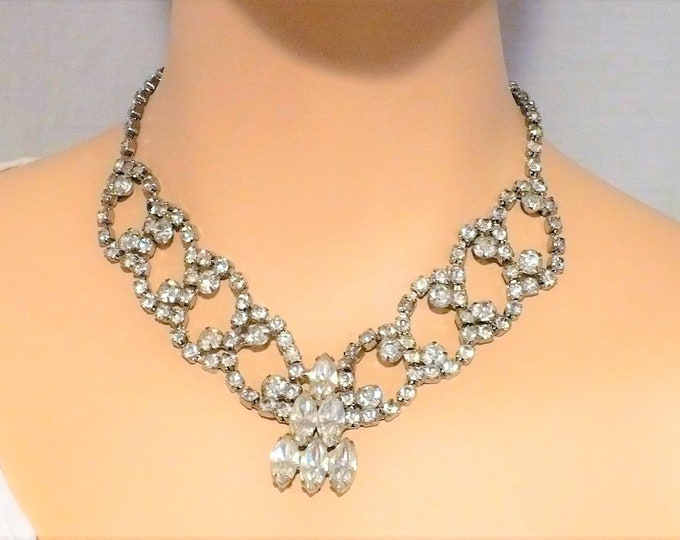 Vintage Burlesque Rhinestone Festoon Necklace 18 inch ADJ