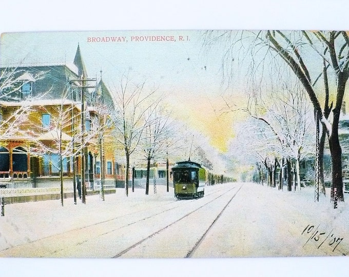 1907 Trolley Streetcar in Winter Broadway Providence Rhode Island Vintage Postcard Posted