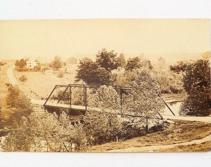 1909 Bridge Hill Handwritten Poem on Back Camden Indiana Vintage Postcard Posted