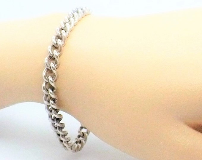 Steel Curb Link Bracelet For Charms Vintage Jewelry