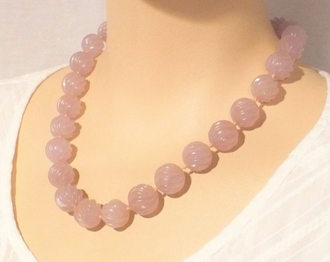 Carved Lavender Amethyst Bead Necklace 18 inch