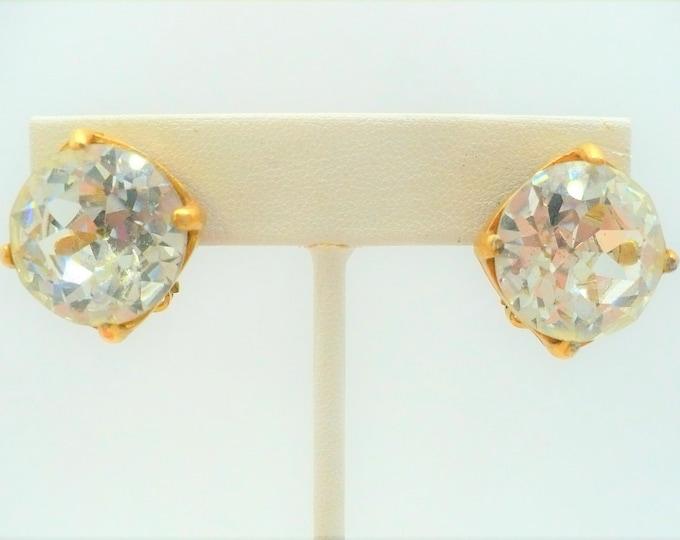 Big 80's Bling Rhinestone Vintage Clip On Earrings - Clear