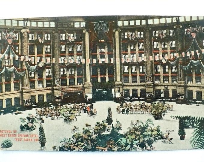 1909 Rotunda West Baden Springs Hotel Indiana Vintage Advertising Postcard Posted