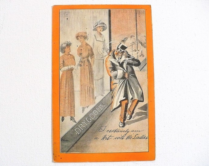 1912 Dry Goods Hit With The Ladies Vintage Comic Postcard Posted