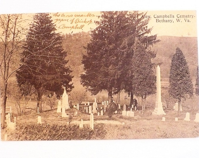 1909 Campbells Cemetary Bethany West Virginia Postcard Posted