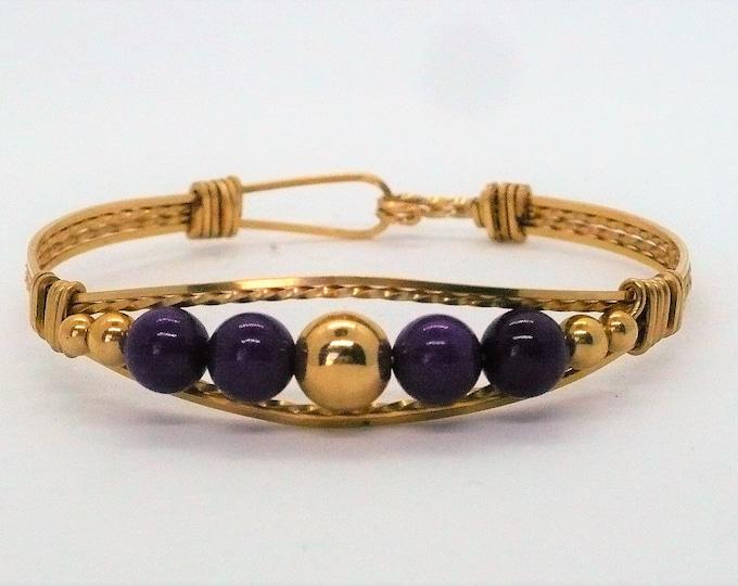 Girl's 10k Gold Sugilite 1980's Vintage Bracelet