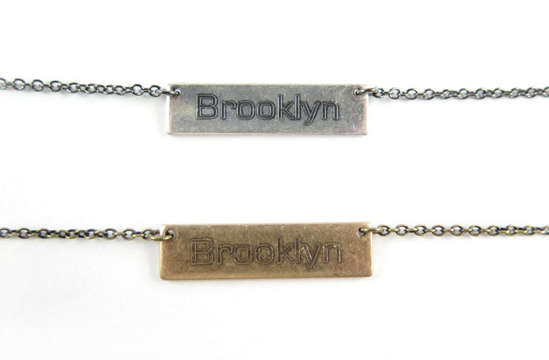Antiqued Gold Or Antiqued Silver Plated Engraved Brooklyn Necklace