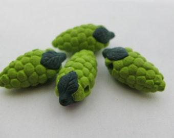 4 Tiny Green Grape Beads CB243