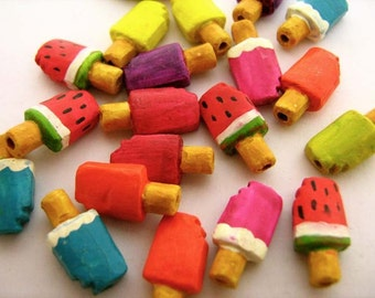 20 Tiny Popsicle Beads - mixed - CB738