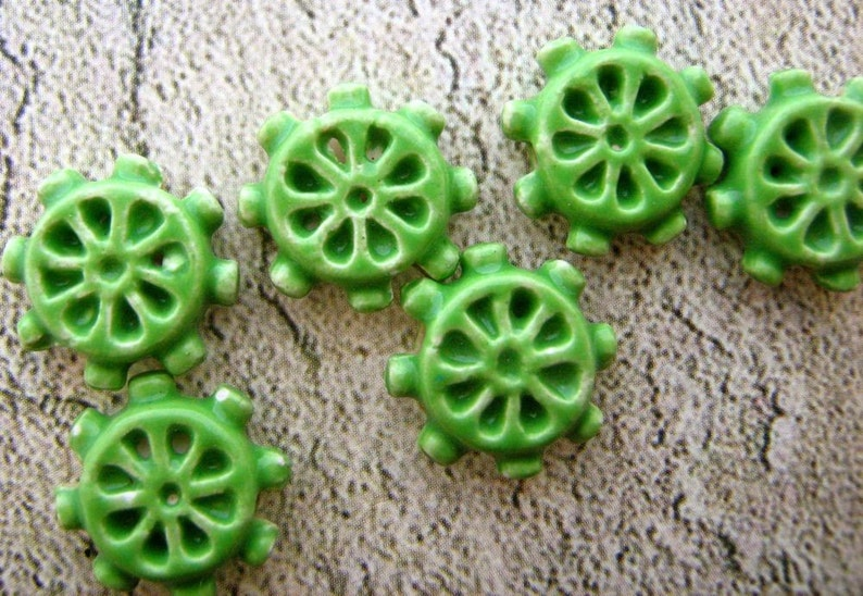 Boat Beads Ceramic Beads Peruvian Beads Shipping Beads green Sea Beads 10 Tiny Ship/'s Wheel Beads Helm Beads CB251