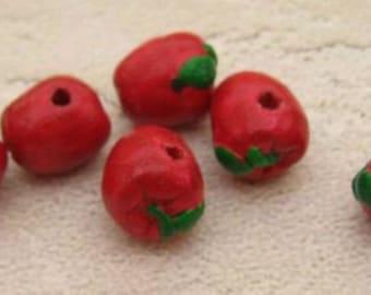 20 Tiny Red Apple Beads - CB180