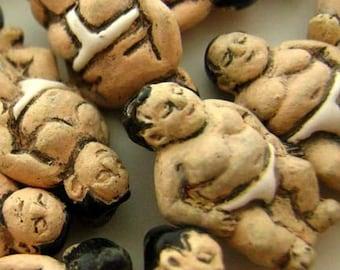 4 Tiny Sumo Wrestler Beads