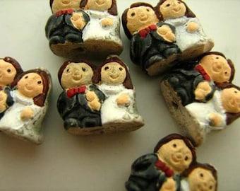 4 Tiny Wedding Couple Beads