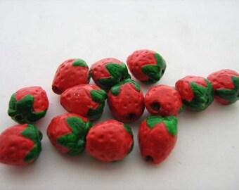10 Tiny Strawberry Beads - CB239