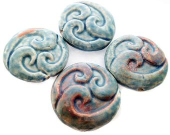 10 Raku Triple Wave Pendants - peruvian beads, ceramic beads, raku beads - LG651