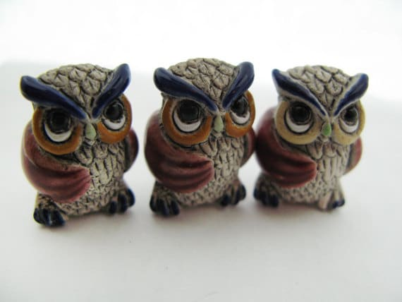 4 Large Owl Beads - red wings - LG457