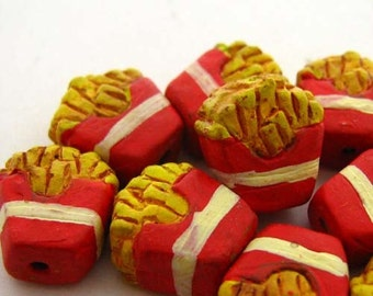 20 Tiny French Fry Beads - CB683
