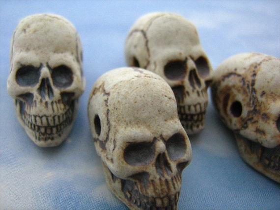 long jaw 4 Large High Fired Skull Beads
