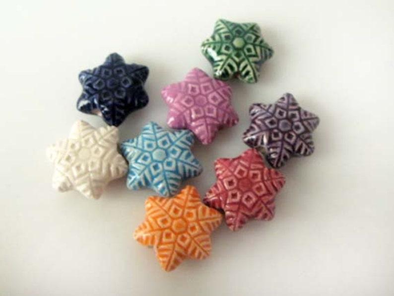 20 Ceramic Beads mixed Tiny Snowflake Beads CB859