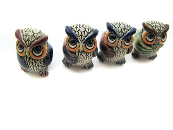 4 Large Owl Beads - mixed wings - LG457