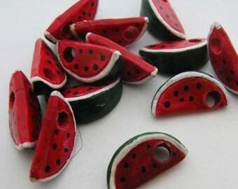 4 Tiny Watermelon Slice Beads