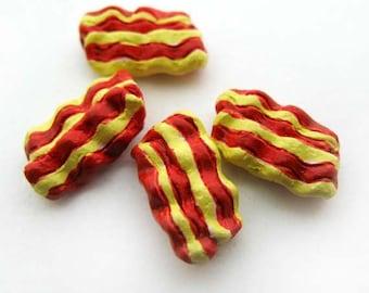 4 Tiny Bacon Beads - CB906