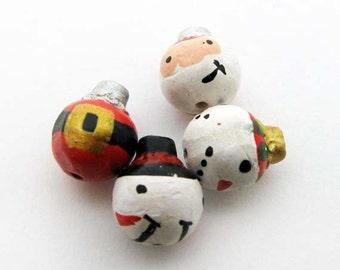 10 Perline ornamento Natale tiny - Babbo Natale e pupazzo di neve