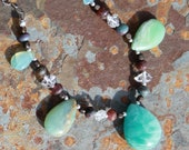 Seaside Path - Amazonite, Ruby , Herkimer diamond and Peruvian blue opal necklace and or earrings set by EvyDaywear