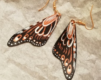 Leather Monarch Wing - Painted Earrings