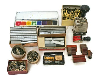 Vintage Office or School Supplies  /  Office School Destash  /  Staples Stamps  /  Paintbox  /  Vintage Desk Decor