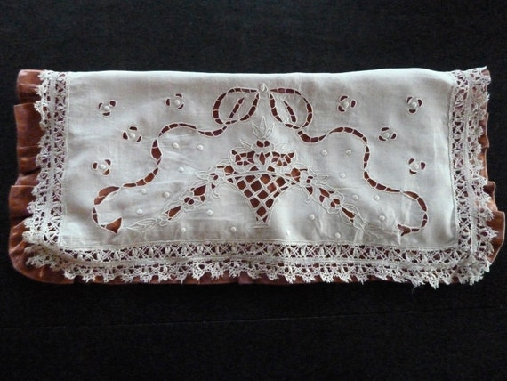 Antique Linen Case, Satin and Lace, Glove or Handk