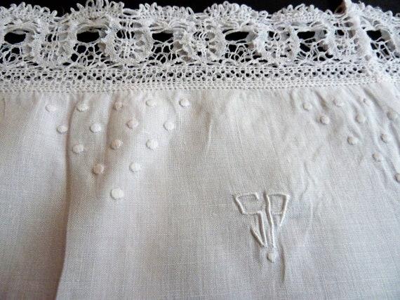 French Linen Cami, Antique Bodice, Monogram, Fine