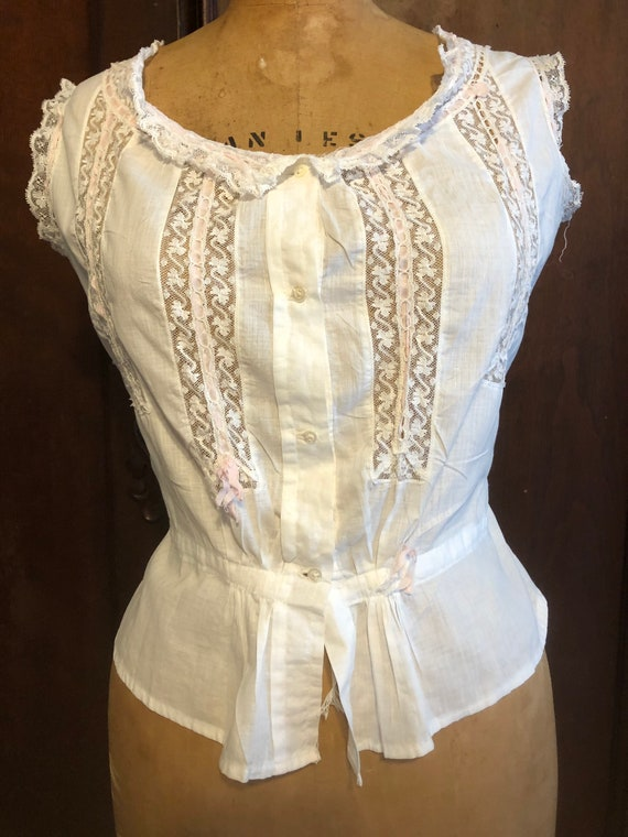 Antique Bodice, French Lace Cami, Fancy Corset Co… - image 2