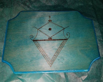 La Sirene Voodoo loa wooden altar tile:Mermaid Goddess
