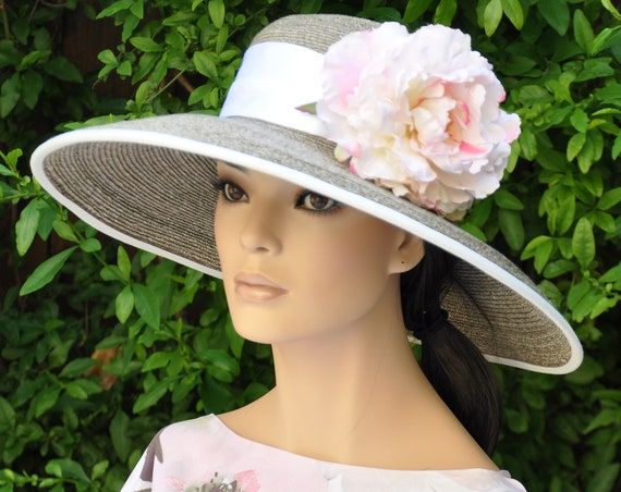 Wedding Hat, Formal Hat, Derby Hat, Special Occasion Hat, Taupe Hat, Dressy Hat,