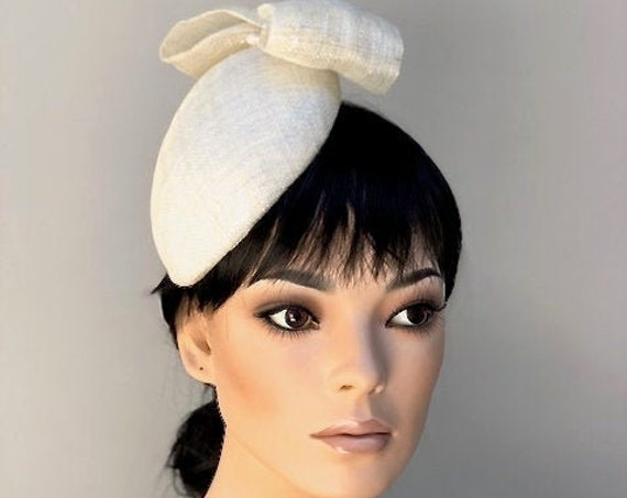 Ladies Cream Ivory Fascinator Hat, Women's Ivory Hat, Wedding Hat, Cocktail Hat, Pillbox Hat, Special Occasion Hat,
