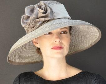1e3e5b2c Wedding hat, Formal Hat, Occasion Hat, Taupe Hat, Audrey Hepburn Hat,  Church Hat, Dressy Hat