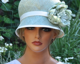 40b7e3dd348134 Wedding Hat, Women's Aqua Hat, Vintage Style Hat, Ladies Aqua Cloche, 1920s  1930s Hat, Formal Hat, Cloche Hat