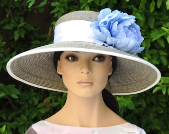 1a83a448 Wedding Hat, Church Hat, Taupe Hat, Ladies Blue Hat, Formal Hat, Dressy Hat,  Special Occasion Hat