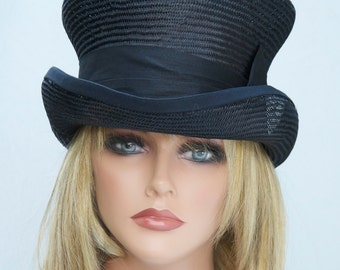 60db7bd9 Women's Black Top Hat, Ascot Hat, Formal Hat, Derby hat, Mad Hatter,  Elegant Black hat, Black Steampunk hat, funeral hat