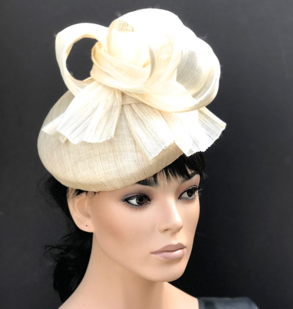 Women's Cream hat, Ladies Ivory Hat, Kate Middleton Hat, Duchess hat, Teardrop Fascinator Hat, Royal Ascot hat, Ladies Day hat,