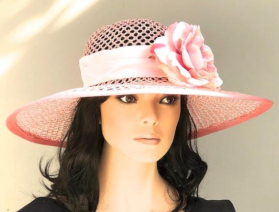 Wide Brim Wedding Hat, Kentucky Derby Hat, Garden Party Hat, Ladies Peach Pink Hat, women's formal Hat