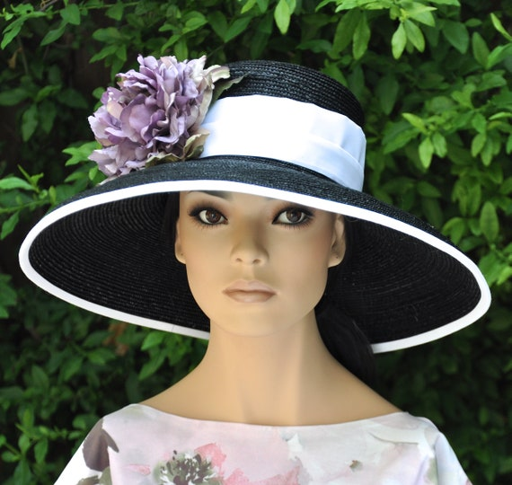 Wedding Hat, Royal Ascot hat, Black & White formal hat, Derby Hat, Church Hat, Audrey Hepburn hat, wide brim hat,