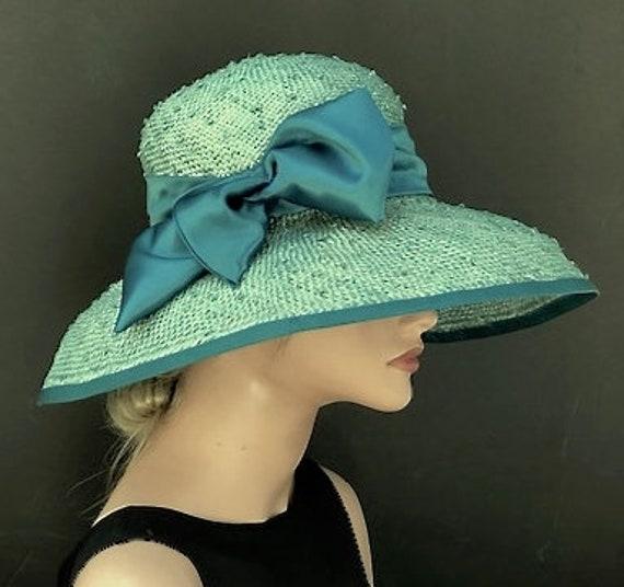 Wedding Hat, Women's Kentucky Derby Hat, Ladies Formal Hat, Mother of Bride Hat, Teal Aqua Turquoise Wide Brim Hat, Garden Party Hat