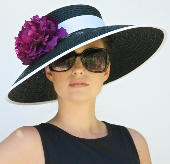 Kentucky Derby Hat, Wedding Hat, Audrey Hepburn Hat. Church Hat, Formal Black and White hat, Women's Ascot Hat, Wide Brim