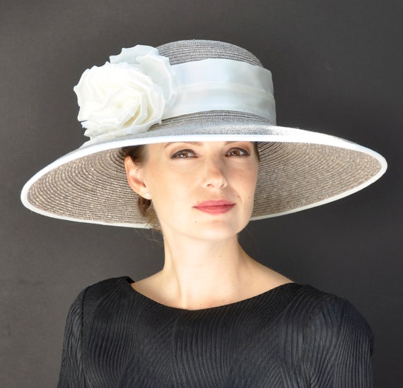 Wedding Hat, Kentucky Derby Hat, Formal Hat, Taupe Hat, Ascot Hat, Ladies Ivory Hat, Dressy Hat, Church Hat, Audrey Hepburn Hat